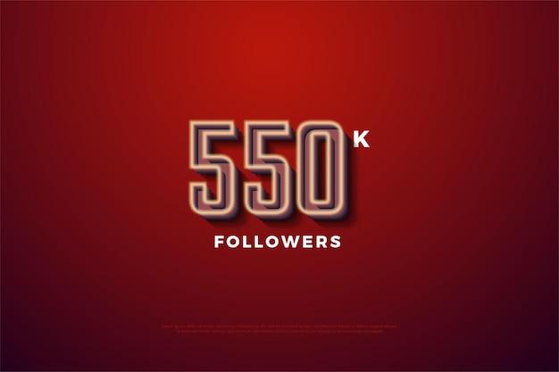 550 mil seguidores com um revestimento branco leitoso nas bordas