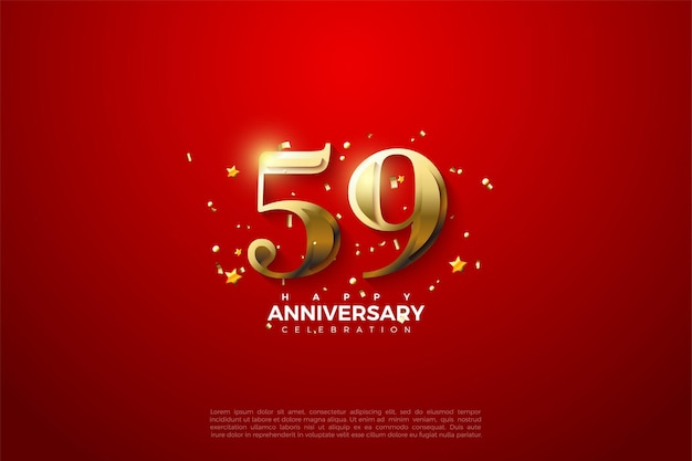 59º aniversário com algarismos dourados em um fundo vermelho brilhante
