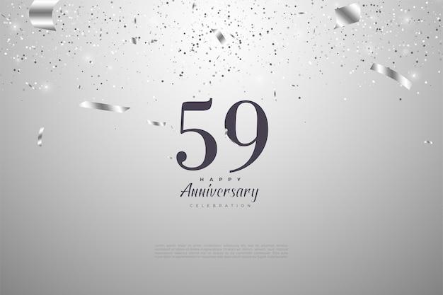 59º aniversário com números pretos em prata