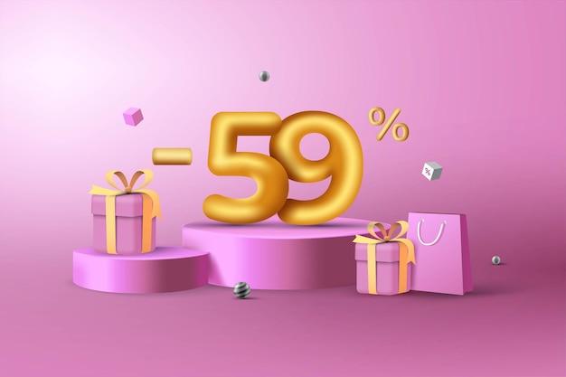 59% de desconto em números de desconto em ouro 3d no pódio com sacola de compras e caixa de presente