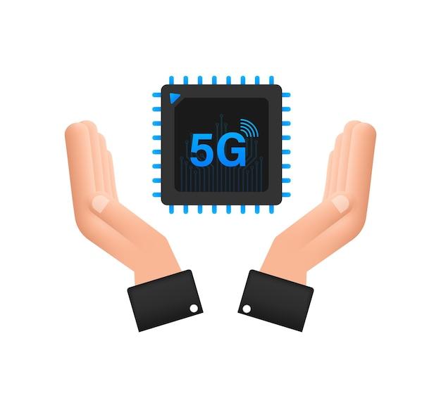 5g esim cartão sim integrado com ícone de mãos conceito símbolo novo chip celular celular
