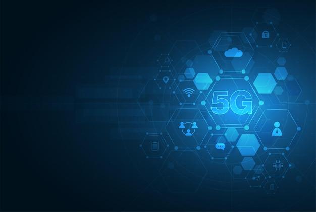 5g símbolo nova conexão sem fio à internet wi-fi quinta geração inovadora de alta velocidade global