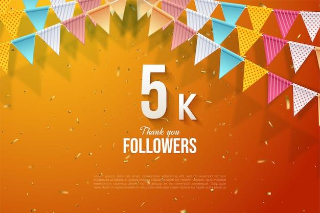 5k seguidores com bandeira colorida e ilustração de número em fundo laranja.