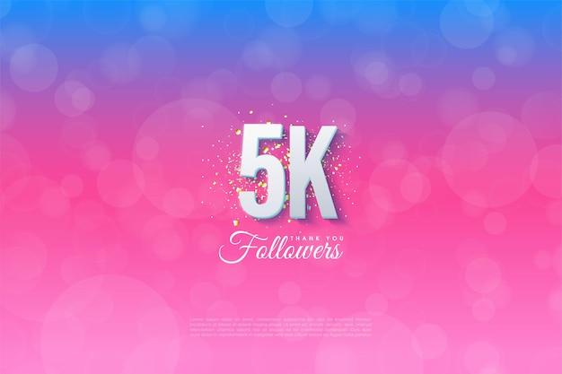 5k seguidores com fundo ilustrado graduado de azul a rosa.