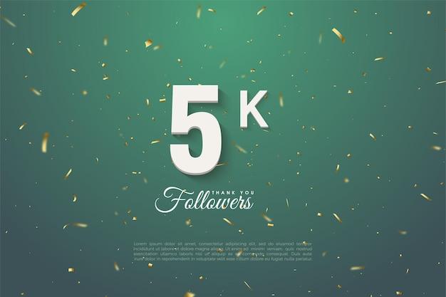 5k seguidores com fundo verde pontilhado em ouro e número branco.