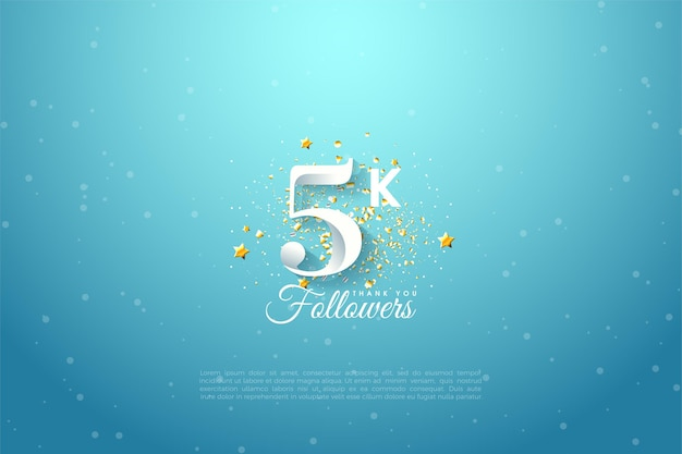 5k seguidores com ilustração de figura de céu azul brilhante.