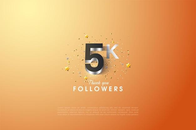 5k seguidores com ilustração de figuras 3d banhado a prata brilhante.