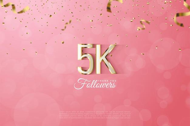 5k seguidores com ilustração de letras e números contornados de ouro.