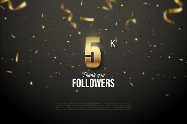 5k seguidores com ilustração de número dourado e fitas de ouro caindo.