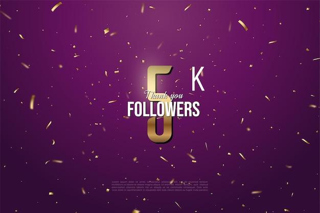 5k seguidores com ilustração de número dourado em fundo roxo escuro salpicado de ouro.