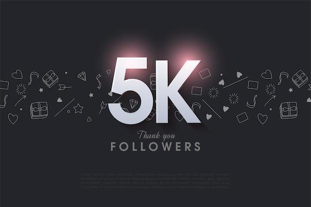 5k seguidores com ilustração de número iluminada