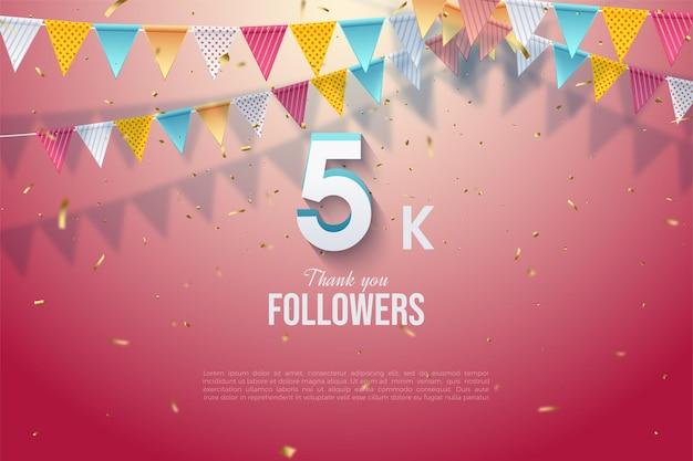 5k seguidores com ilustração numérica 3d sob bandeiras coloridas.