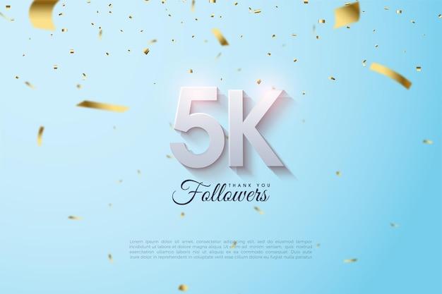 5k seguidores com ilustrações de figuras brilhantes.