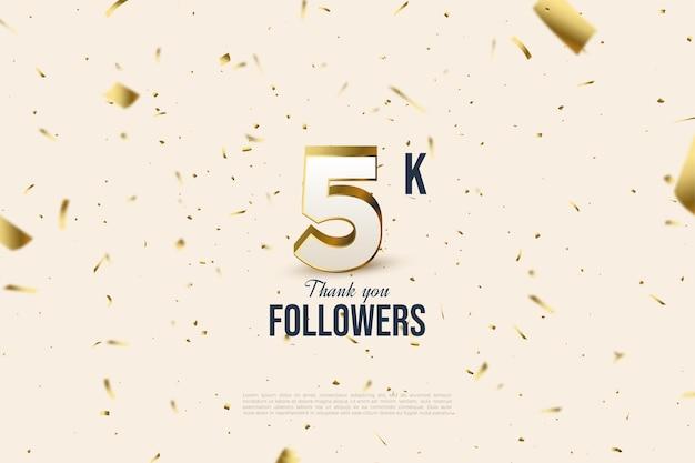 5k seguidores com ilustrações de figuras e letras no fundo de papel estampado ouro espalhado.
