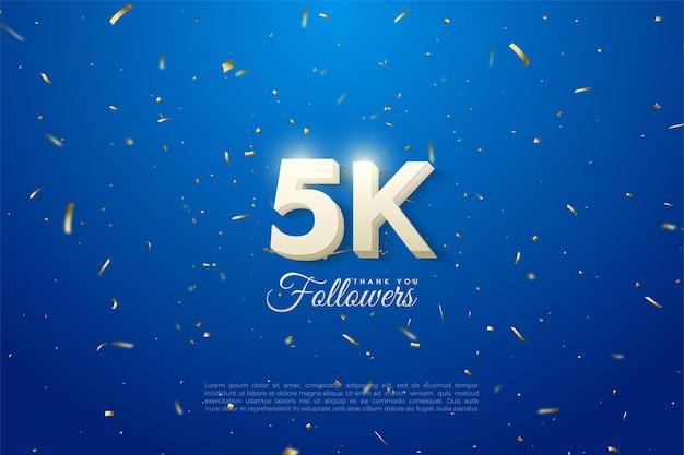 5k seguidores com número 3d branco em negrito e fundo azul.