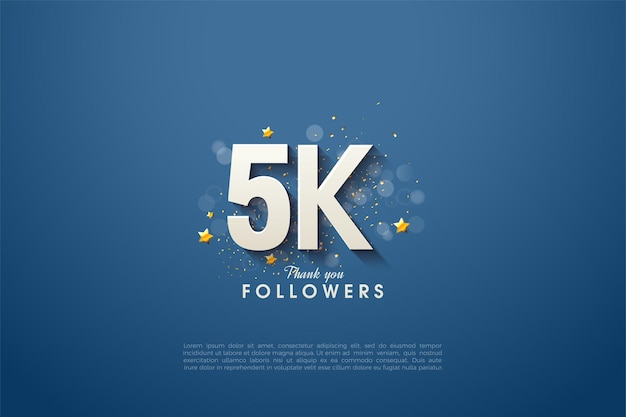 5k seguidores com número 3d e ligeiramente sombreado em fundo azul marinho.