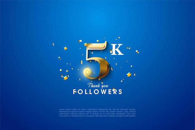 5k seguidores com número de ouro brilhante