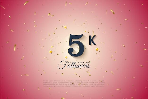 5k seguidores com número em um fundo gradiente rosa.