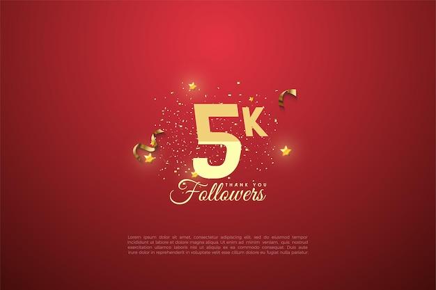 5k seguidores com número graduado em fundo vermelho.