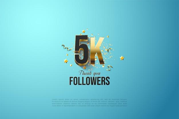 5k seguidores com números e letras dourados.