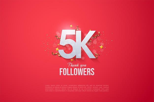 5k seguidores com números e letras sobrepostos.