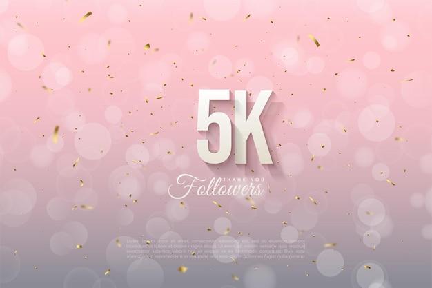 5k seguidores com números e letras sombreados.