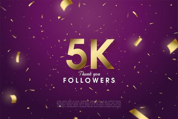 5k seguidores com papel dourado e ilustração numérica