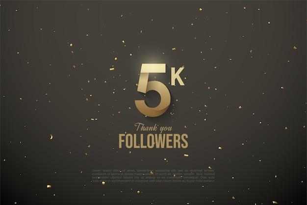 5k seguidores dourados e brilhantes