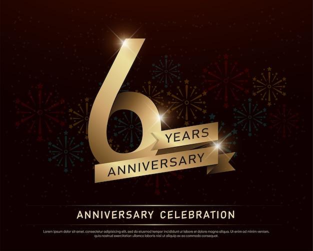 6º aniversário aniversário comemoração número ouro e fitas