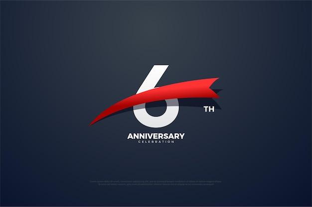6º aniversário com figura cônica vermelha