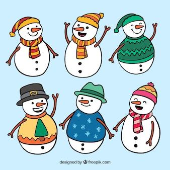 6 bonecos de neve felizes