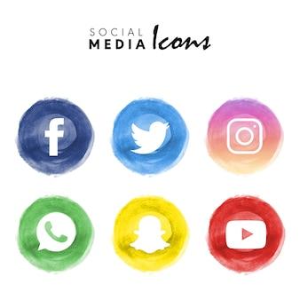 6 coleção de logotipo de mídia social aquarela popular