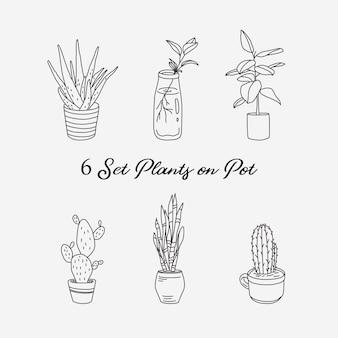 6 conjunto de plantas na ilustração de linha de pote