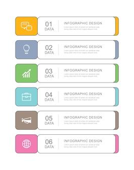 6 dados infográficos guia modelo de índice de linha fina de papel.