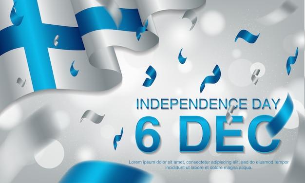 6 de dezembro, finlândia, voando ballons e bandeira de ondulação.