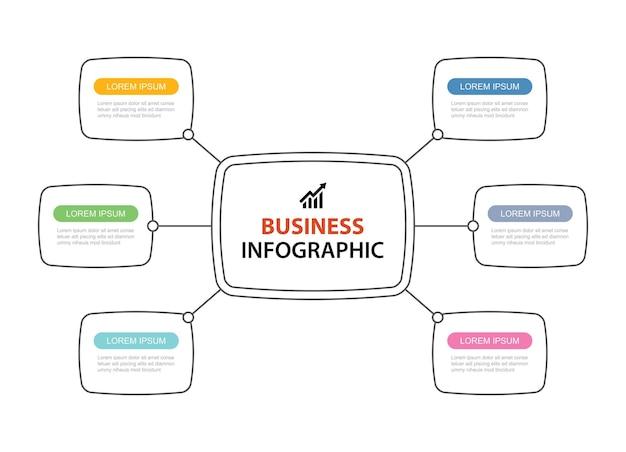 6 design de linha fina de infográficos de dados.
