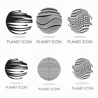 6 differents planeta ícones silhuetas ilustração vetorial