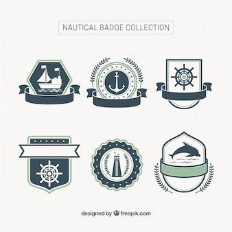 6 emblemas náuticas com fitas