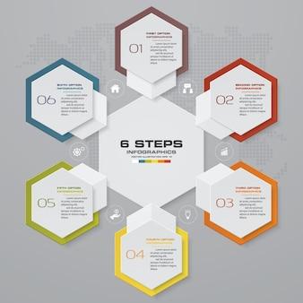 6 etapas processam o elemento de infográficos para apresentação.