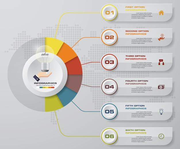 6 etapas processo infográficos elemento.
