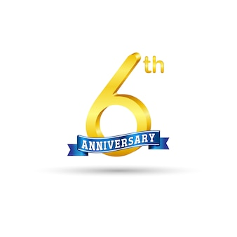 6º logotipo de aniversário de ouro com fita azul, isolada no fundo branco. logotipo de ouro 6º aniversário 3d