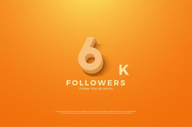 6 mil seguidores com ilustração de números animados