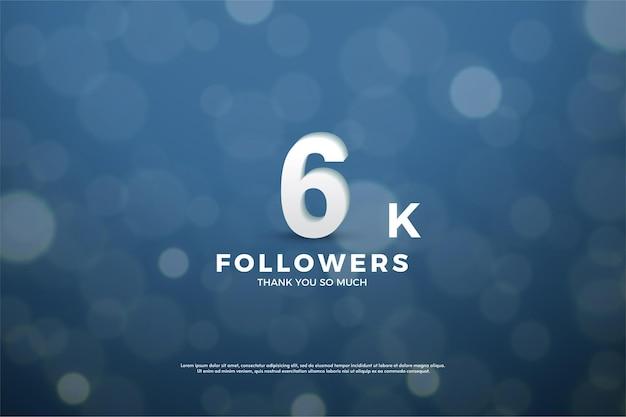 6 mil seguidores com números no efeito bokeh de fundo