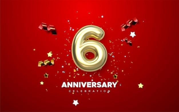 6 números de ouro de aniversário com confetes dourados. modelo de festa de evento de comemoração 6º aniversário.