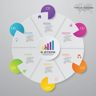 6 passos moderno infográficos elementos do gráfico de pizza.