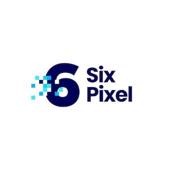 6 seis número de pixel marca ilustração digital de ícone de logotipo de 8 bits