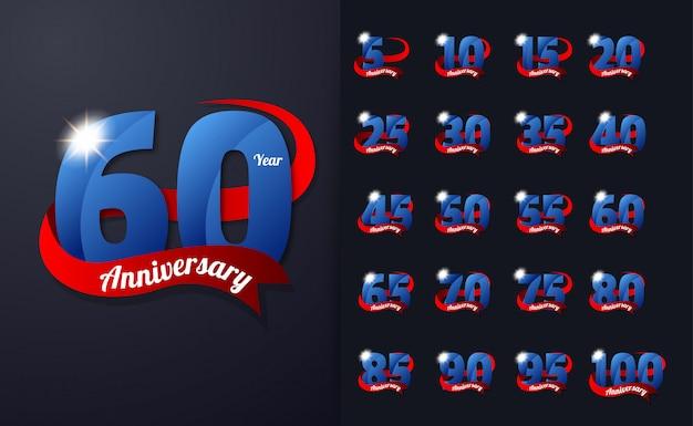 60º aniversário design modelo comemoração emblema design com cor azul