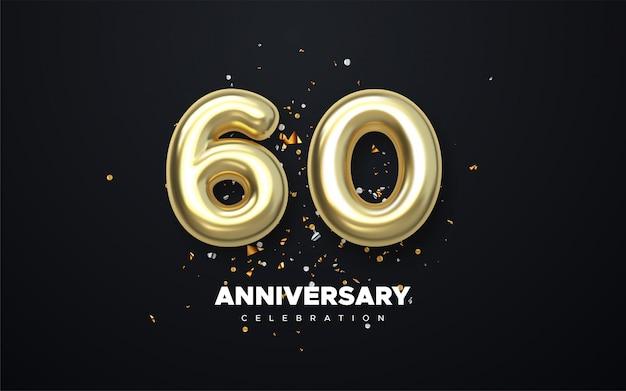 60 anos aniversário giz, tinta dourada estilo