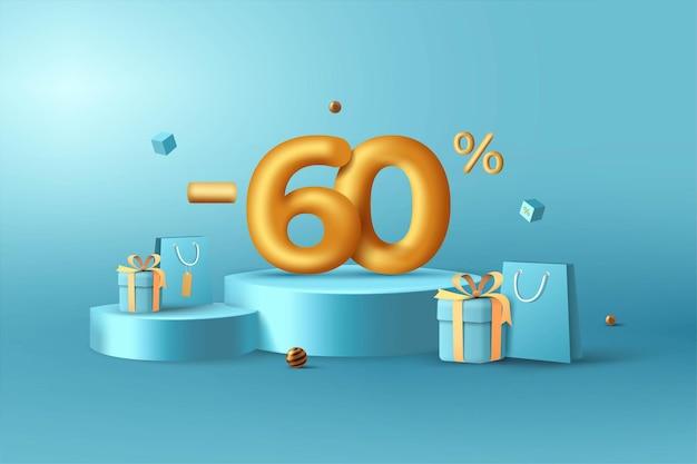 60% de desconto em números de desconto em ouro 3d no pódio com sacola de compras e caixa de presente
