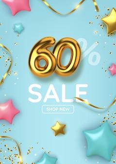 60 de desconto na promoção de venda feita de balões de ouro realistas com estrelas